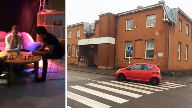 Ungdomar i soffa och byggnad. Foto: Peter Bressler/Sveriges Radio