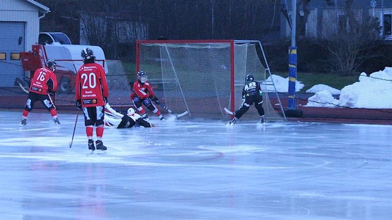 Stjärnan slog Tjust med 5-3. Här gör Thobias Bäckman 3-1 målet. Foto: Faton Pasho / SR