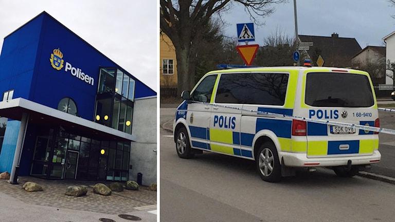 Till vänster polishuset i Västervik. Till höger en polisbil med avspärrningsband vid en brottsplats. Foto: Annelie Frank/Sveriges Radio