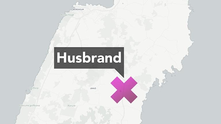Karta som visar ungefär var fritidshuset brann på Öland. Foto: CartoDB