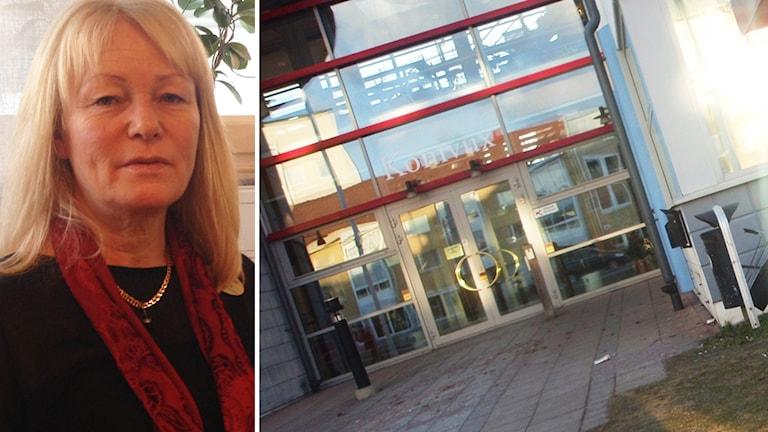 Karin Hovmark och Komvux lokaler. Foto: Marcus Johannesson och Simon Leijnse/Sveriges Radio