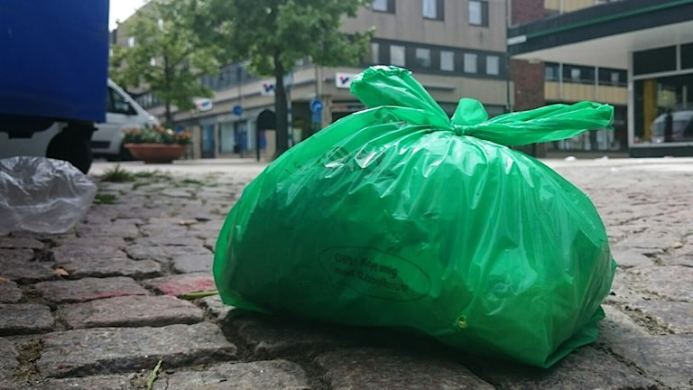 Grön soppåse. Foto: Nick Näslund/Sveriges Radio
