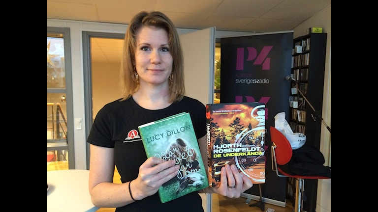 Emma Andersson, bokhandlare i Kalmar, med veckans Boktips.  Foto: Maria Skagerlind/Sveriges Radio