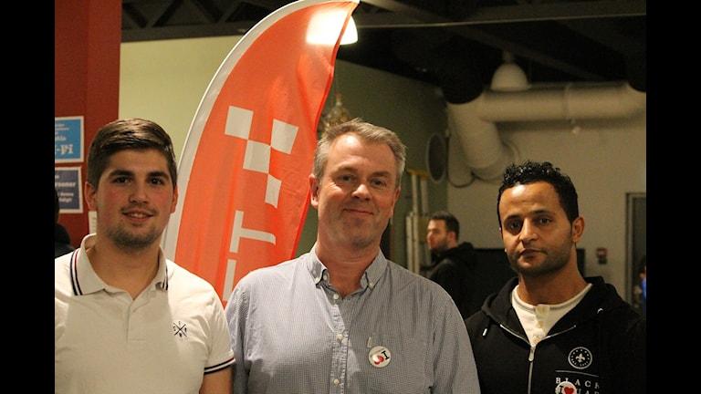 Egzon Abazibra, John Heyne och Sami Mechergui Fryshuset. Foto: Erika Norberg/Sveriges Radio