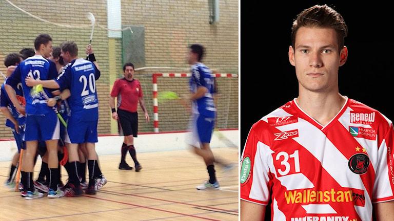 Till vänster Slätafly-spelare som jublar. Till höger Jens Milesson i Pixbos tröja. Foto: Magnus Ekeros/Sveriges Radio & Pixbo.se