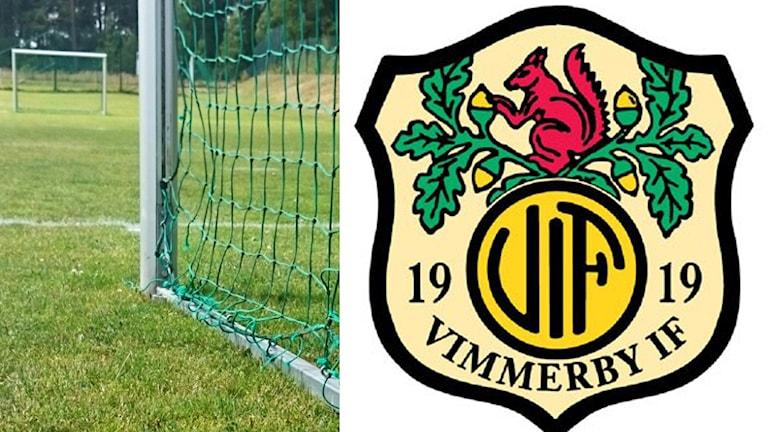 Fotbollsplan, fotbollsmål, Vimmerby IF:s logga.