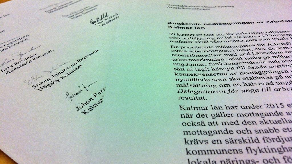 Gemensam skrivelse från Kalmar läns kommunalråd om att rädda AF-kontor. Foto: Malin Flodén/Sveriges Radio