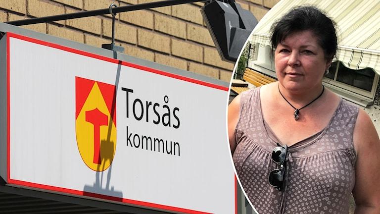 Ett montage med en skylt på Torsås kommun och en kvinna.