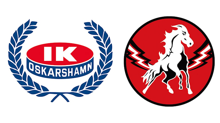 Klubbmärken IK Oskarshamn och Vita Hästen