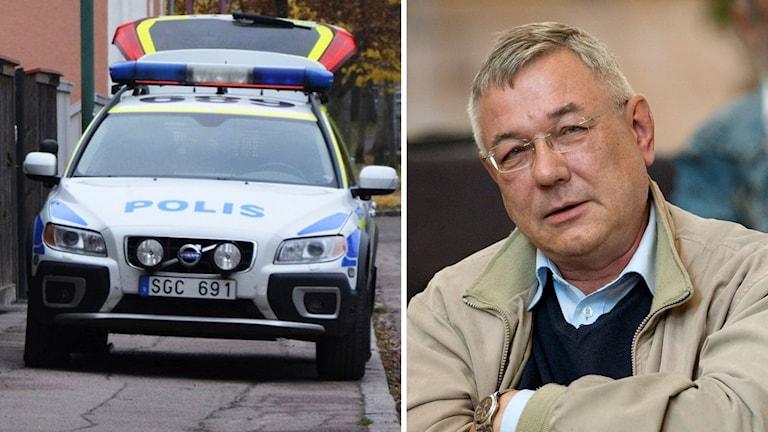 Polisbil och Ulf Åsgård. Foto: Helmuth Petersson och Ulf Palm/TT
