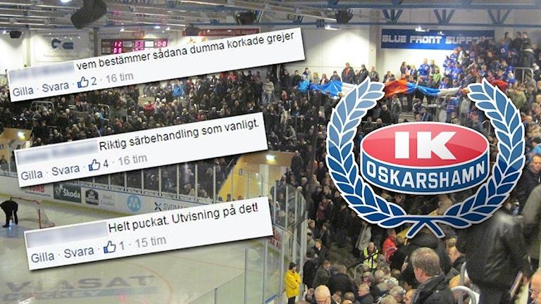 Kritiska Facebook-kommentarer till IK Oskarshamn. Foto: Skärmdump/Facebook & Sveriges Radio