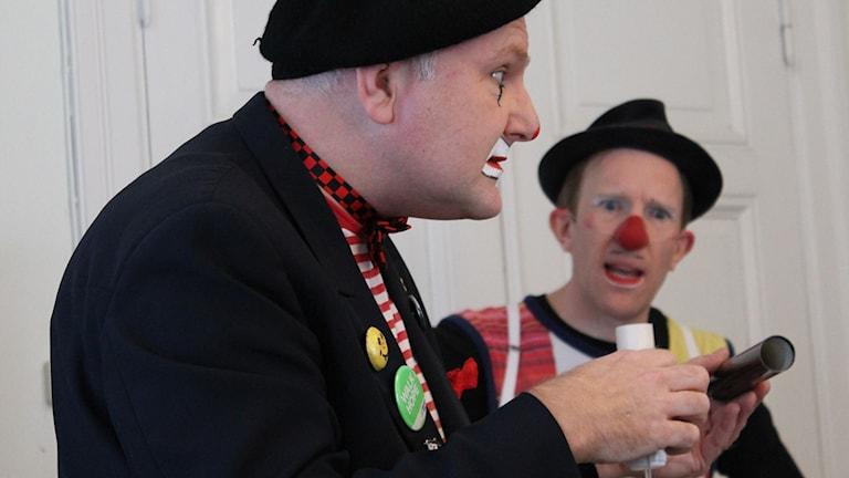 Clownerna Mike och KaBom. Foto: Johanna Lindblad Ahl/Sveriges Radio