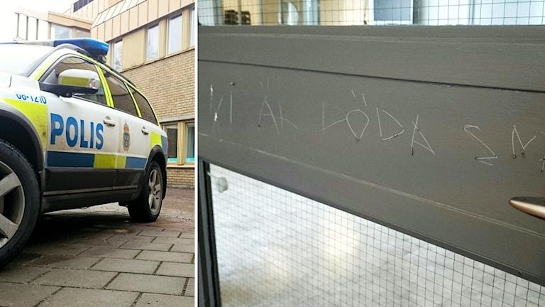 """Inristad text: """"Ni är döda snart"""". Foto: Nick Näslund/Sveriges Radio"""