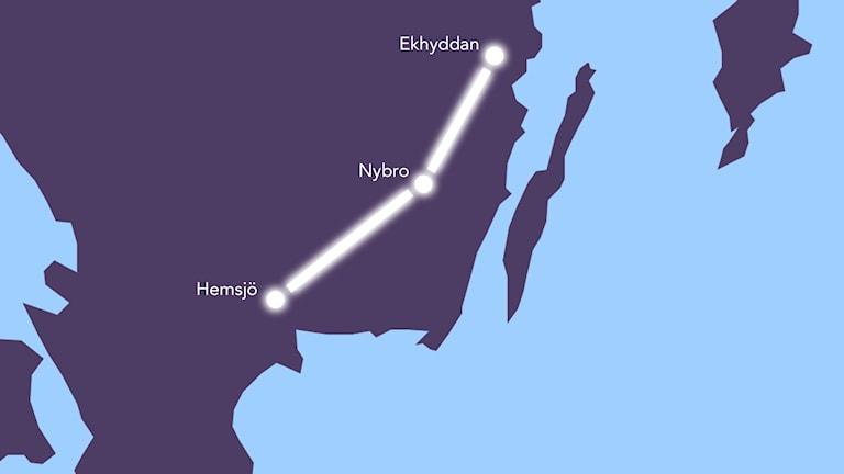 Karta: ledning mellan Ekhyddan och Hemsjö. Grafik: Nick Näslund/Sveriges Radio