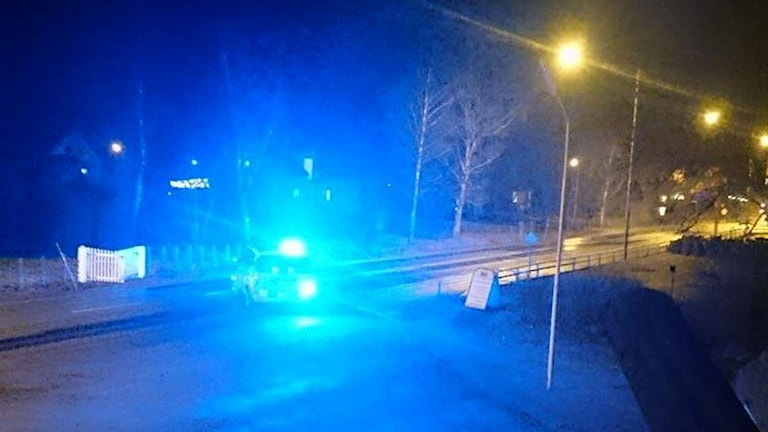 Polisbil med sirener. Foto: Christine Holmberg.
