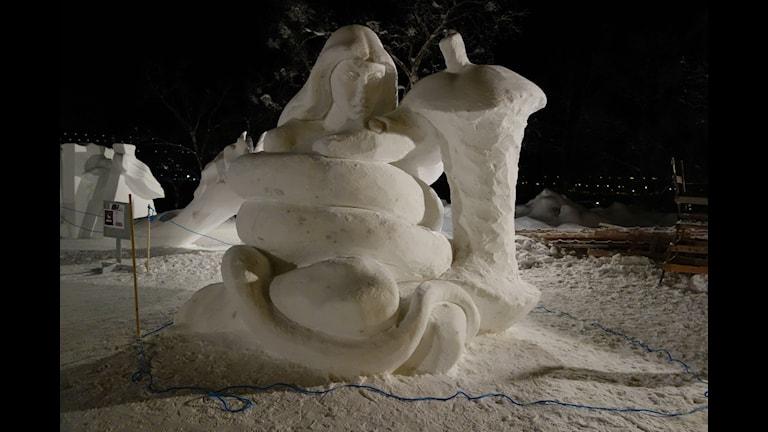 One Big Hug årets snöskulptur signerad Benny Ekman och Ermias Ekube. Foto Privat