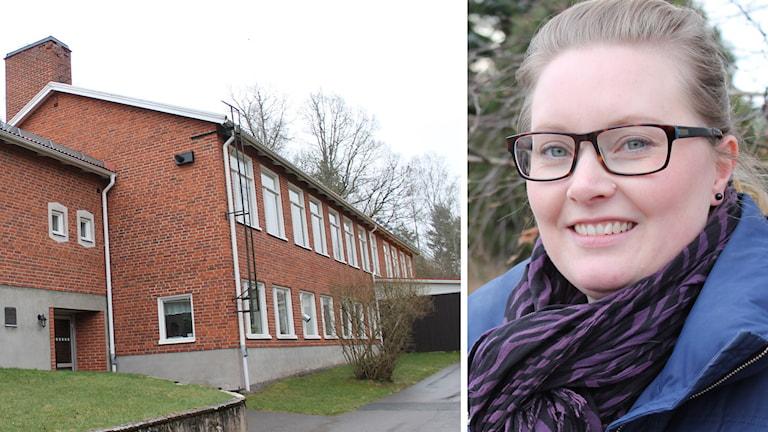 Djursdala skola och Sandra Carlsson. Foto: Johanna Lindblad Ahl/Sveriges Radio