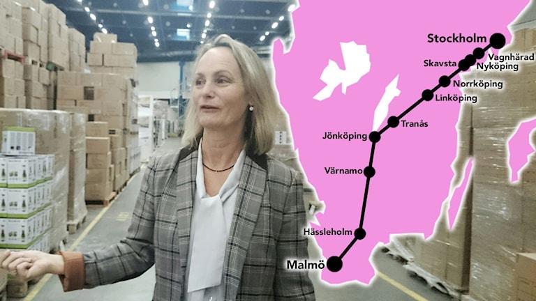 Anneli Sjöstedt och kartan över höghastighetstågens sträckning. Foto: Nick Näslund/Sveriges Radio