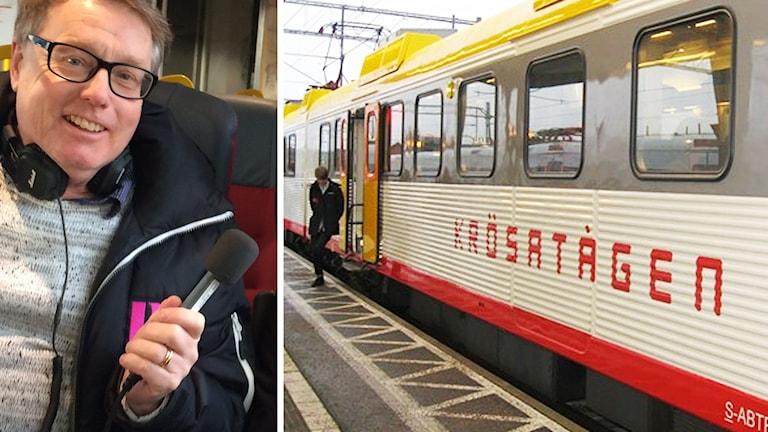 Peter Bressler och tåg. Foto: Sveriges Radio