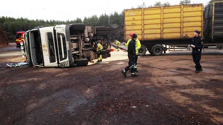 Lastbilsolycka. Foto: Kalmar energi