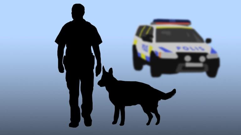 Polisman med polishund.
