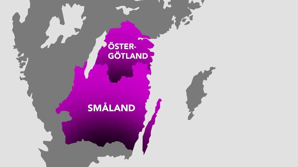 Grafik: Karta över Småland och Östergötland.
