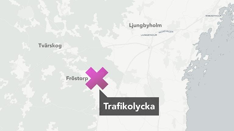 Karta: Trafikolycka i Fröstorp.