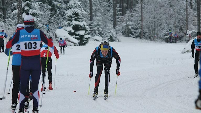 Vinnaren Johannes Knoll höll ut från start till mål. Foto: Faton Pasho / SR