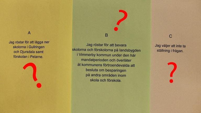 Röstsedlar till folkomröstningen i Vimmerby med frågetecken i rött över.