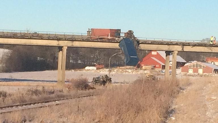 Lastbilsolycka på Skramstadbron i Gamleby.