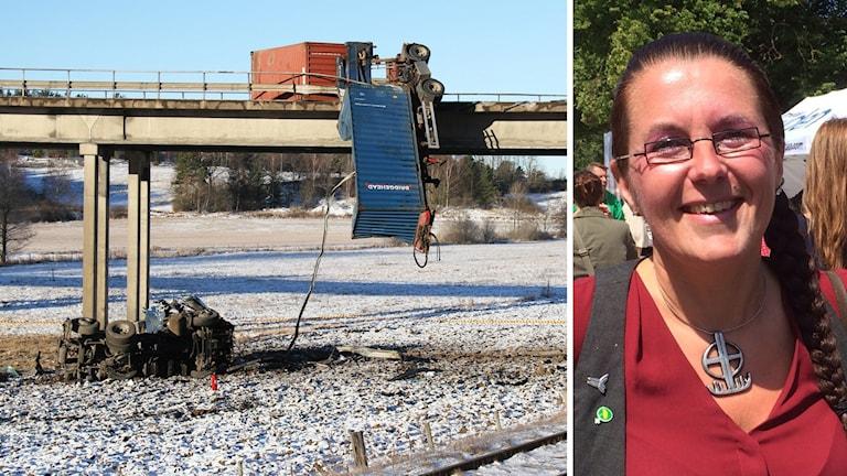 Trafikolycka vid bro och Akko Karlsson.