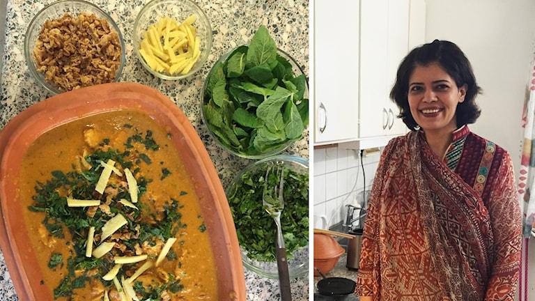 Mat i skålar och Soofia Mansoor.