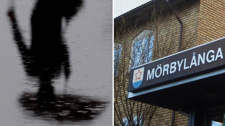 Siluett i vattenpöl av person med paraply och kommunhuset i Mörbylånga.