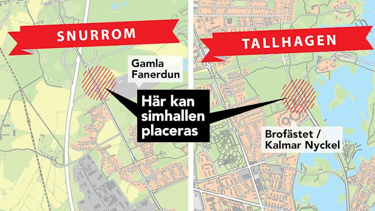 Kartbild över Snurrom och Tallhagen i Kalmar.