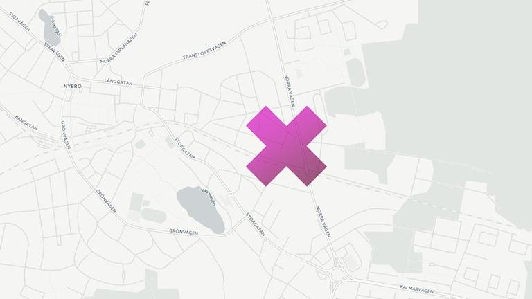 Karta som visar platsen för branden.