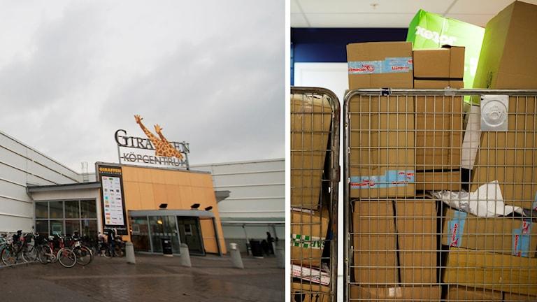 Giraffens köpcentrum och paket.