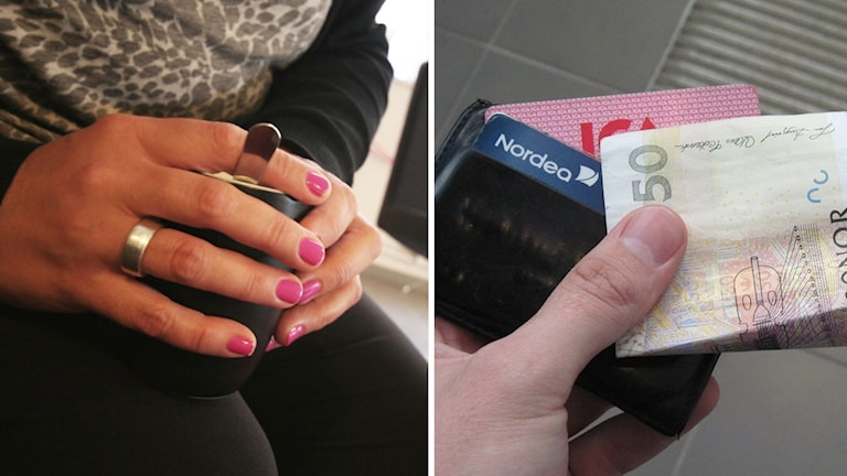 Händer och plånbok.