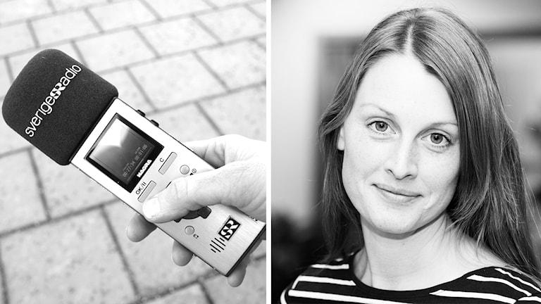 Bandspelare och P4 Kalmars reporter Sigrid Edsenius.