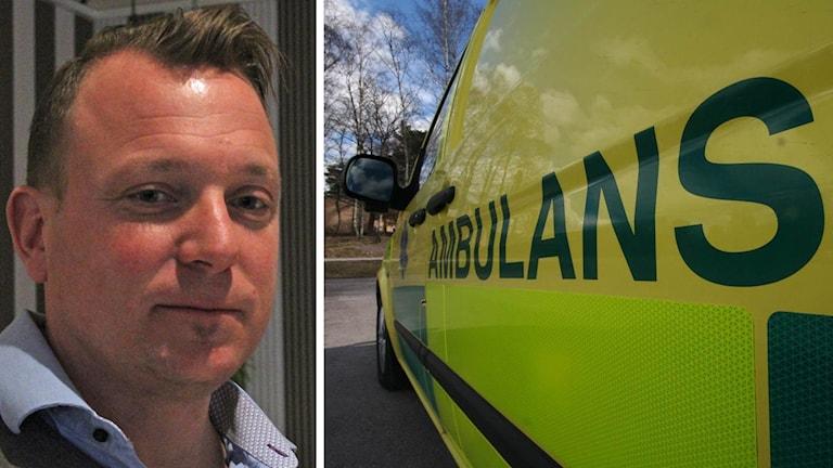 Melker Engström och en ambulans.