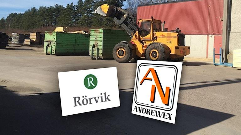 Kollage: Rörviks och Andrewex logotyper.