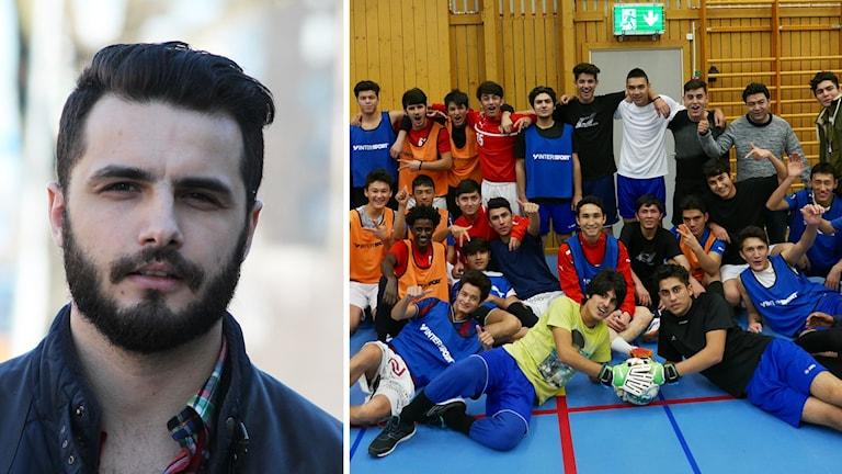 Arnel Vuckic och fotbollsspelande ungdomar