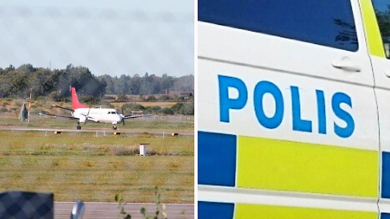Kollage: Plygplan på Kalmar Öland Airport/Polisbil