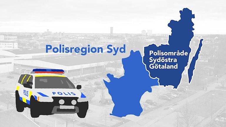 Karta över polisregionen.