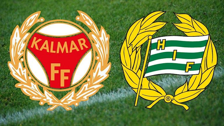 Klubbmärken Kalmar FF och Hammarby.