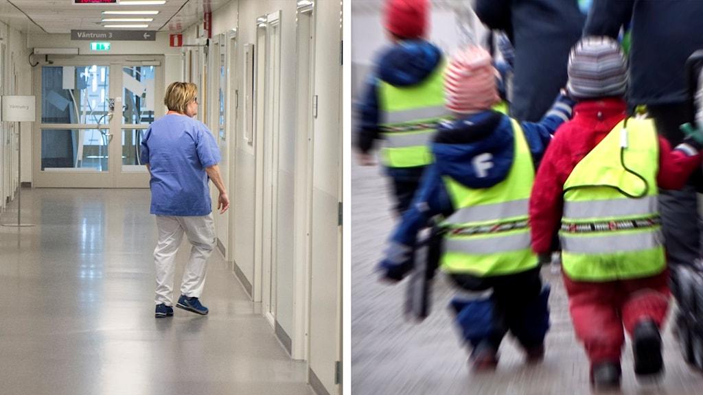 Sjukhuskorridor och barn.