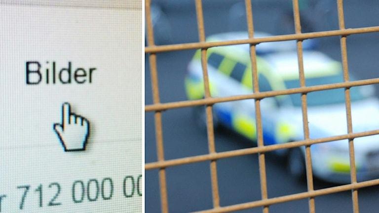"""Muspekare över ordet """"Bilder"""" och polisbil."""