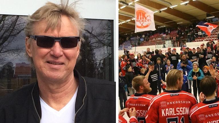 Lasse Jörbrink och hockeyfans på isen.