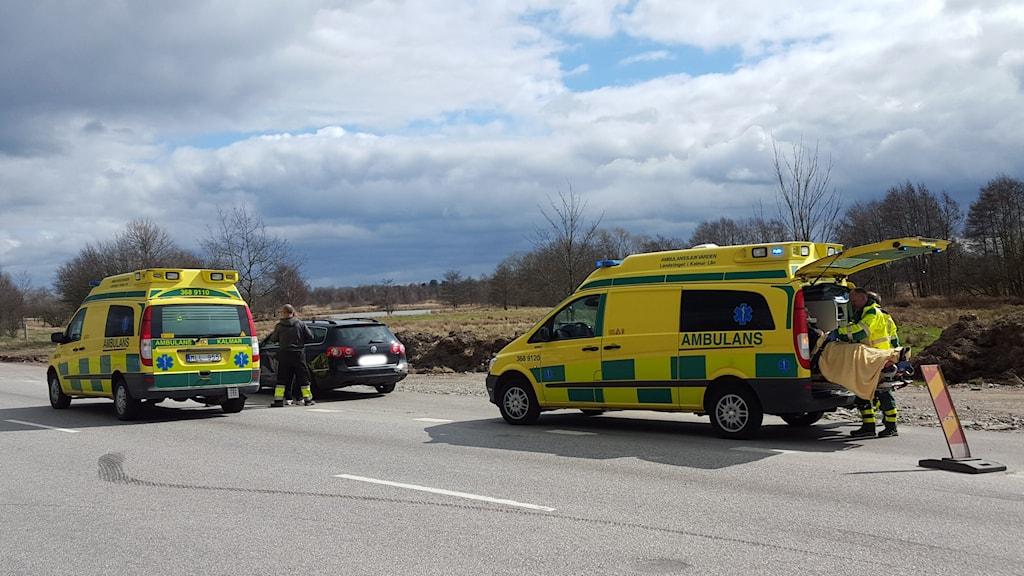Ambulanser på E22:an.