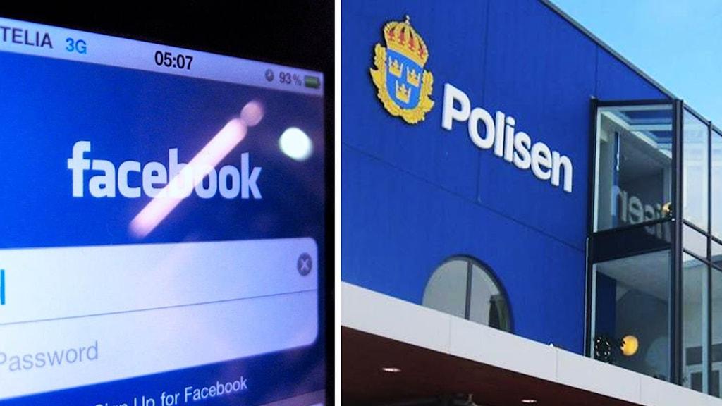 Facebook i mobilen och polishus.