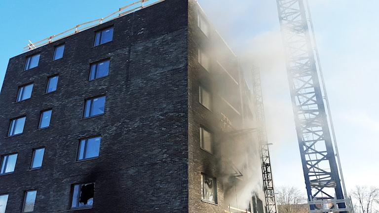 Brand i byggnaden Kajalen i Kalmar.